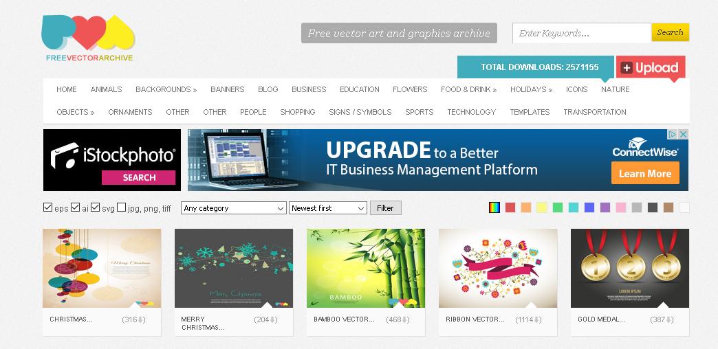 free vector archive screenshot