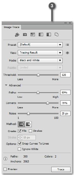 Adobe Illustrator Live Trace Panel