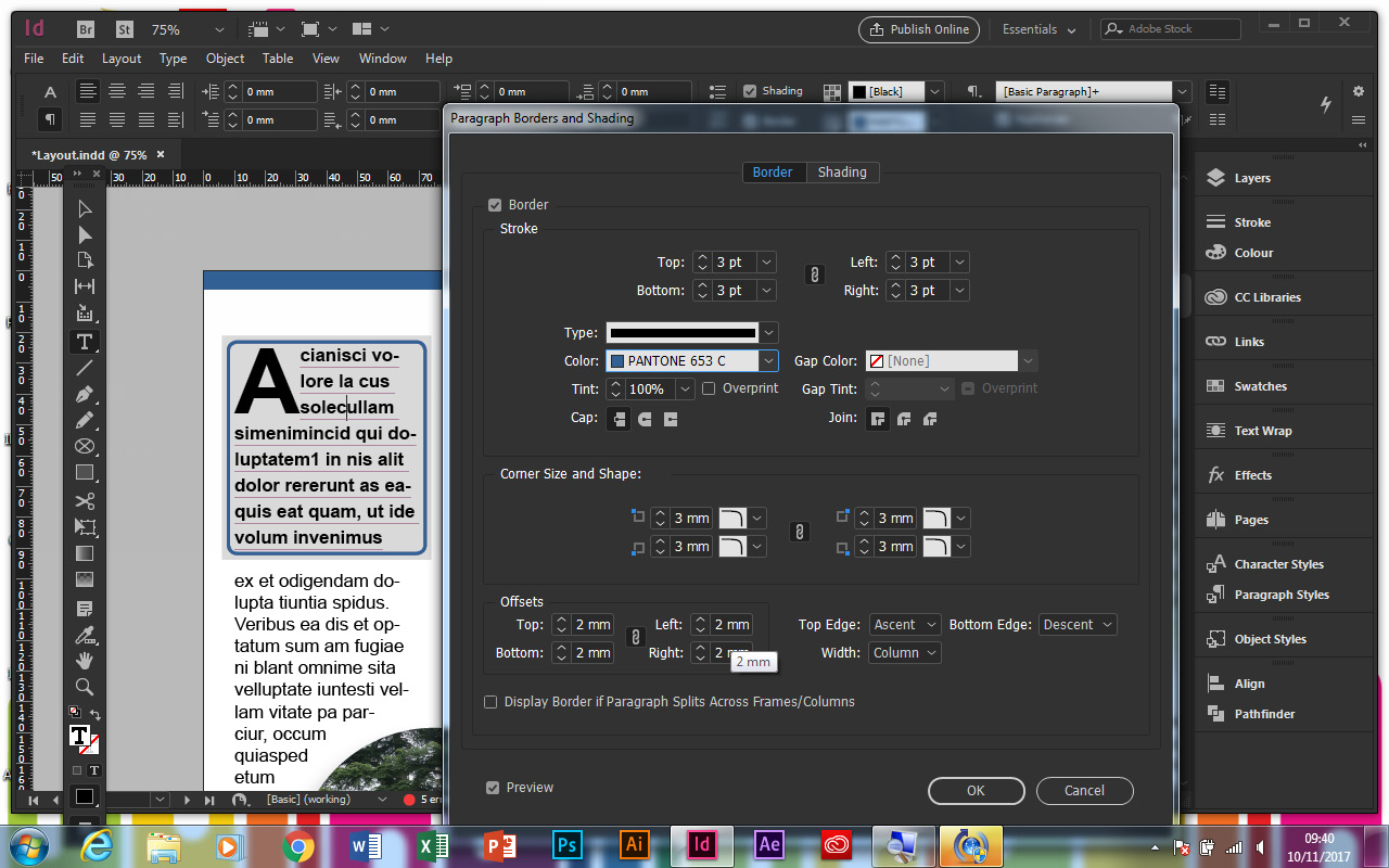 indesign paragraph borders and shading