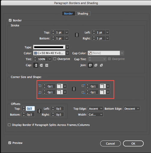 indesign paragraph border corner types