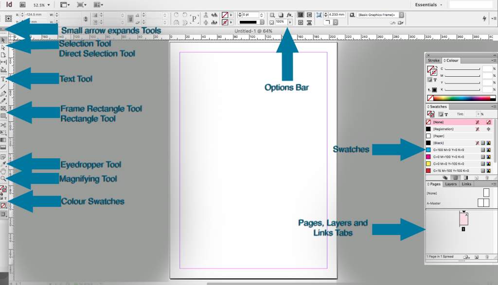 panels tools and options in indesign