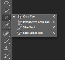 where to find the crop tool on Photshop