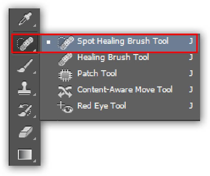 spot healing brush tool