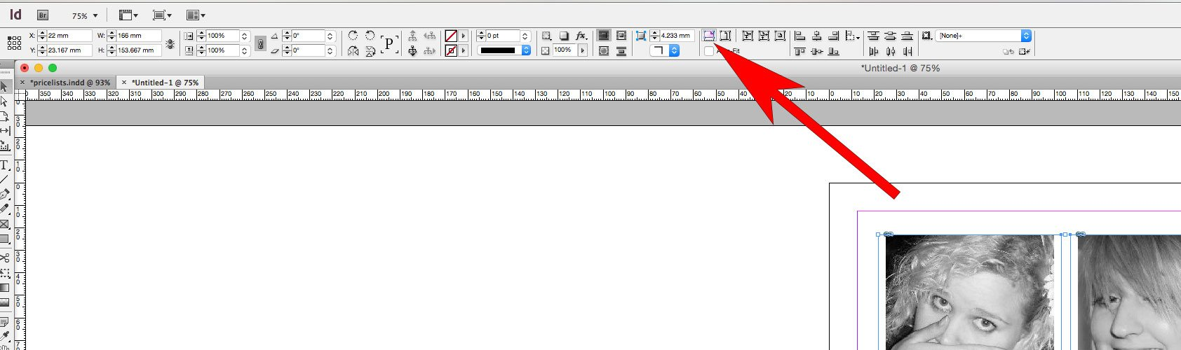 Fill Frame Proportionally button InDesign
