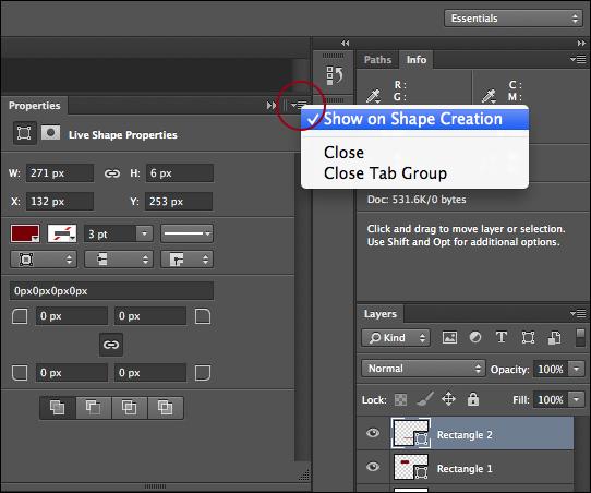 Photoshop Training - properties panel