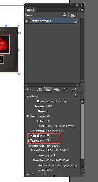 Links panel Adobe InDesign