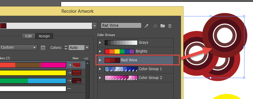 Adobe Illustrator recolour artwork panel