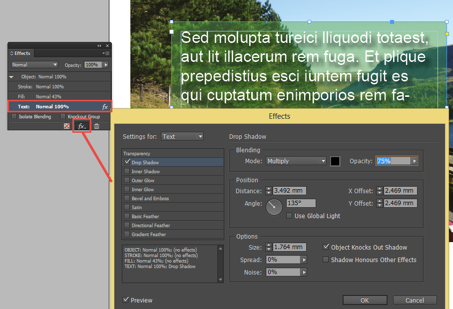 Adding a drop shadow to text in Adobe InDesign