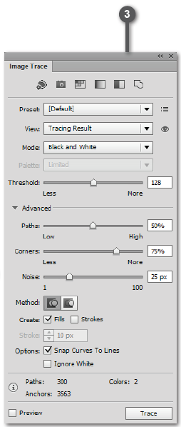Adobe Illustrator Live Trace Panel