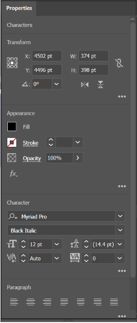 Adobe Illustrator Properties Panel