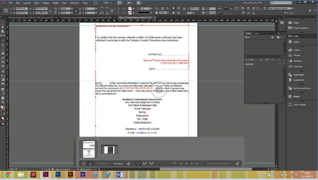 Adobe InDesign Place and link text