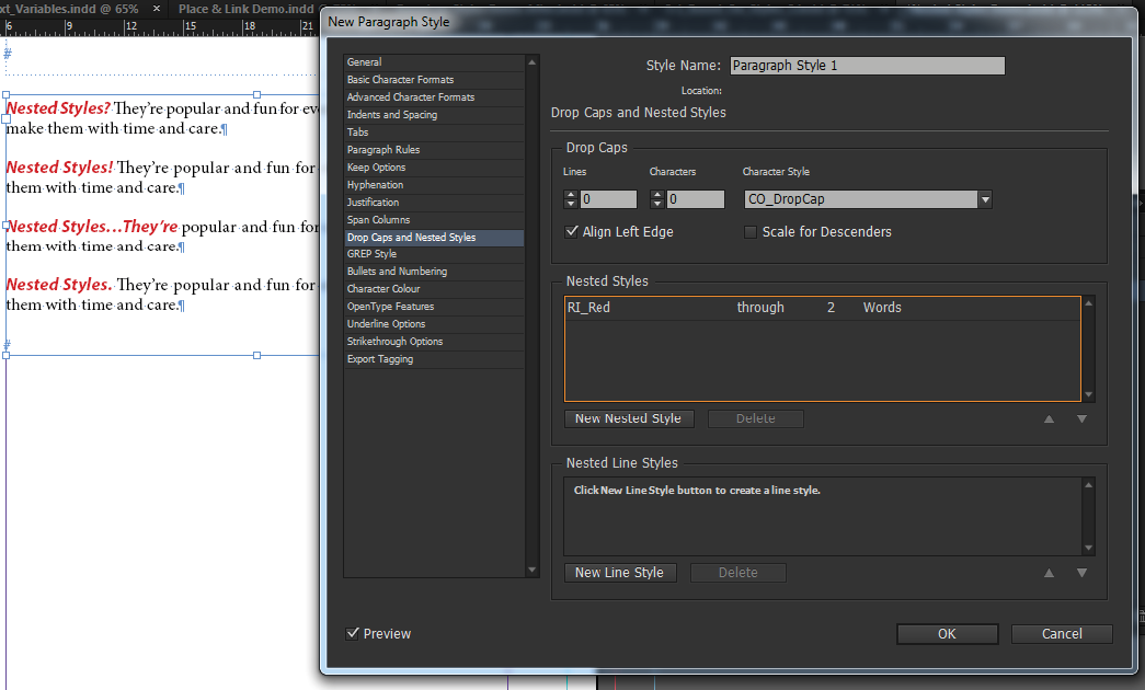 Adobe InDesign nested styles