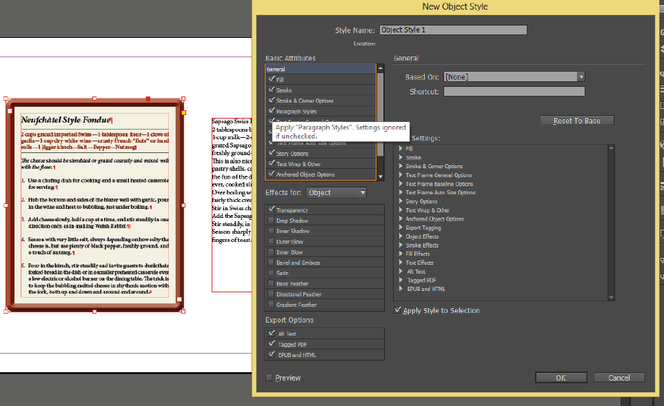 Adobe InDesign object styles