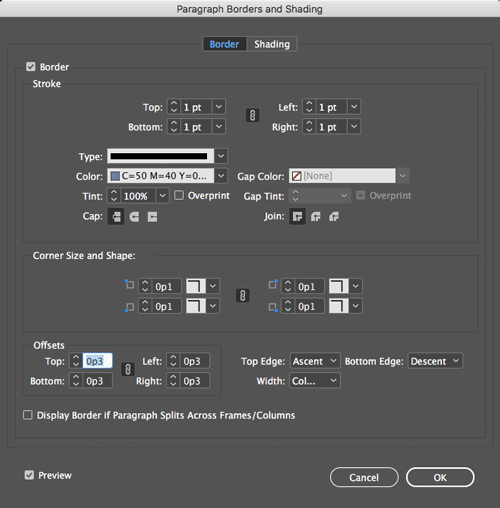 InDesign Paragraph borders