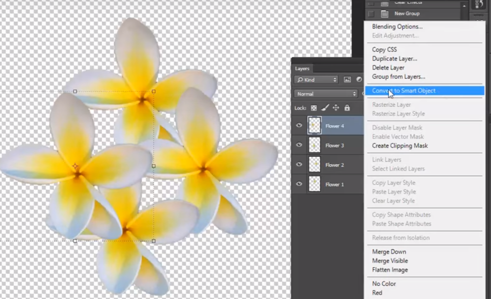 Photoshop Right click to create smart layer
