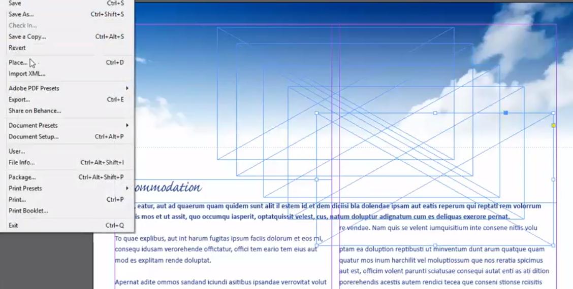 Placing Adobe InDesign frames