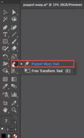 Adobe Illustrator Tool bar with puppet warp tool
