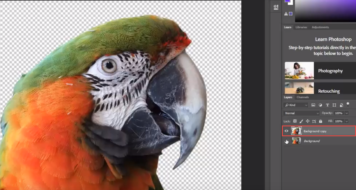 Adobe Photoshop cutout layer