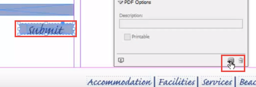 Adobe InDesign submit button on form