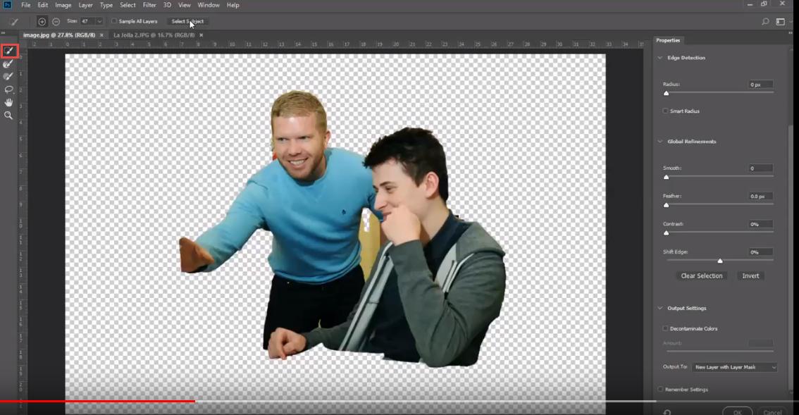 Adjusting selection Adobe Photoshop