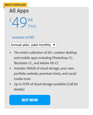 Adobe Creative cloud all apps subscription