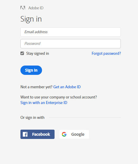 sign in adobe creative cloud