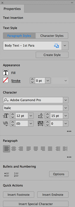 adobe indesign properties panel