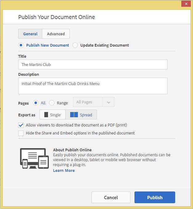 Adobe InDesign Publish online