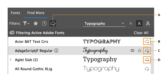 visual font browsing indesign cc 2019